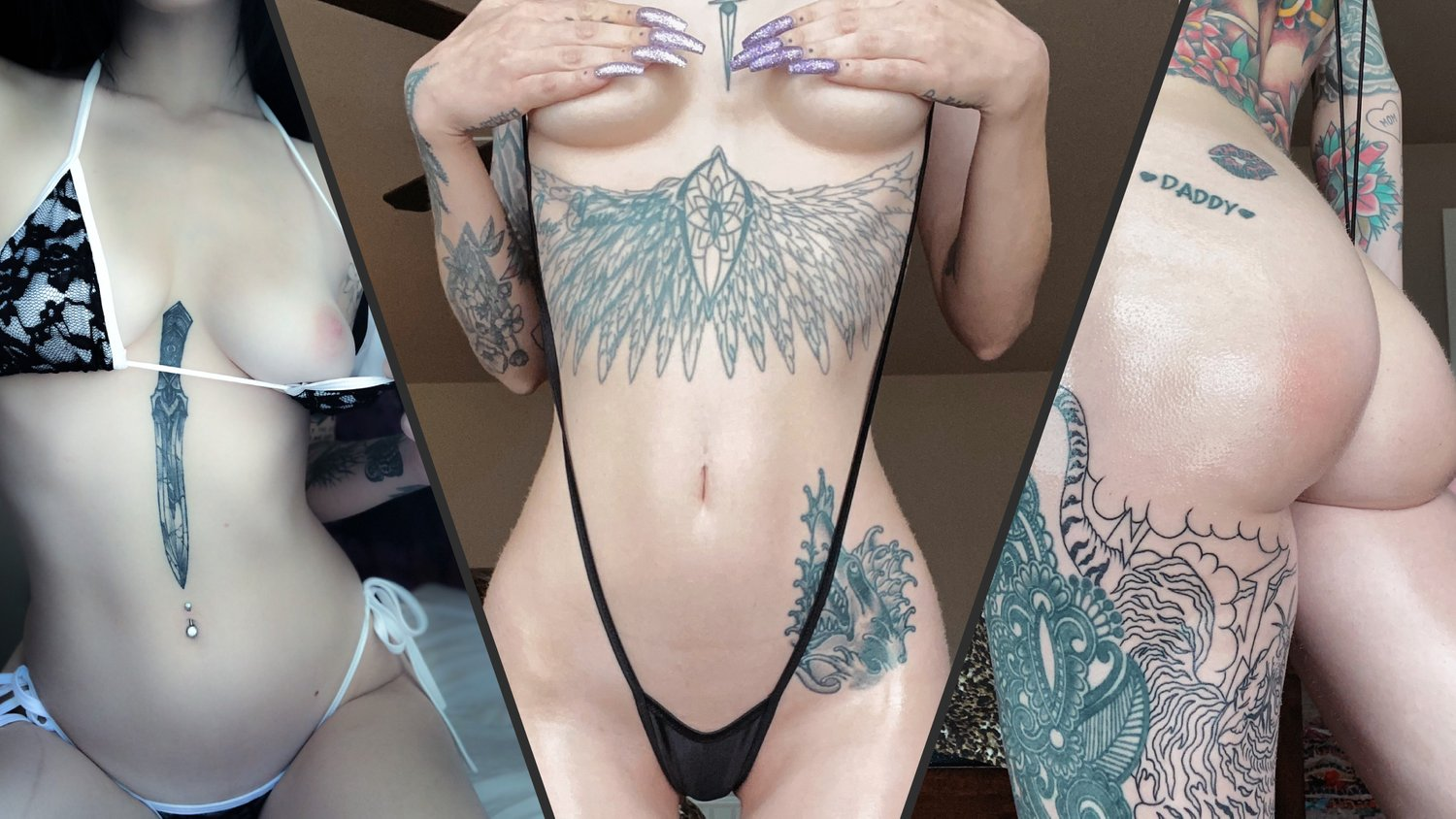 Composition of three beautiful tattooed cam girls, featuring sloppydeep's tattoo category banner