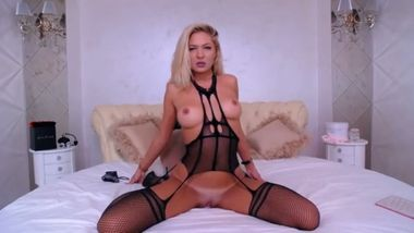 Extremely hot blonde cam babe is riding her favorite dildo in sexy lingeries